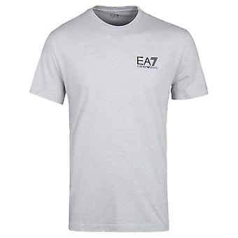 EA7 Light Grey Melange Iconic Logo Crew Neck T-Shirt