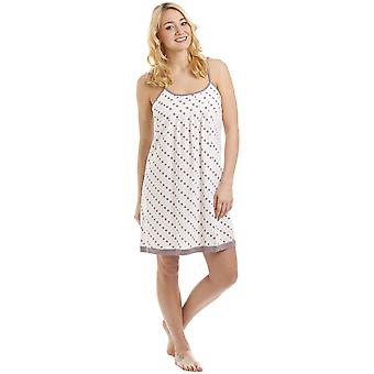 Camille Lightweight Cotton Mix Taupe And Pink Spot Print Nightdress Chemise