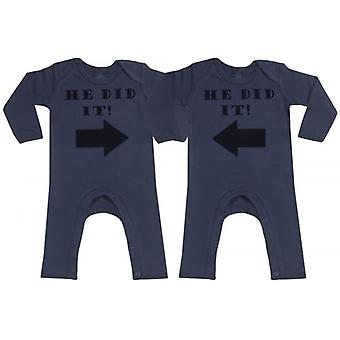 Spoilt Rotten He Did It He Did It Navy Baby Footless Romper Twins Set