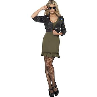 Smiffys Sexy Top Gun Costume Khaki Green With Dress & Bomber Jacket (Costumes)