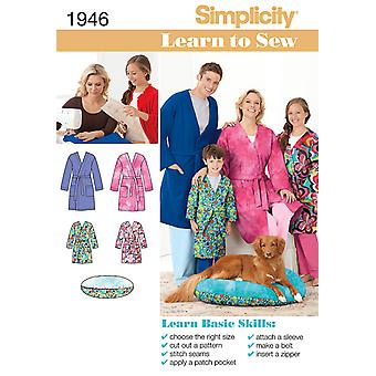 Simplicity Simplicity's Learn to Sew pattern collection-XS - L / XS - XL US1946A
