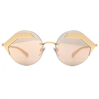 Bvlgari Serpenteyes Abstract Round Sunglasses In Matte Pink Gold