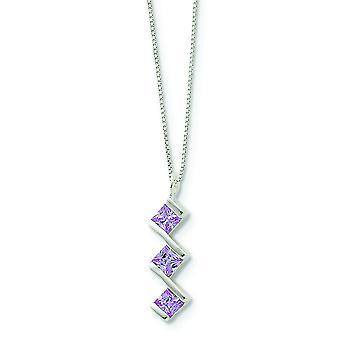 Sterling sølv Solid polert våren ringen lilla Cubic Zirconia anheng med kjede - 18 tommers - hummer klo