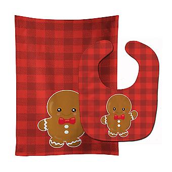Carolines Treasures  BB8775STBU Christmas Gingerbread Boy Baby Bib & Burp Cloth
