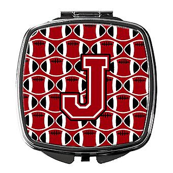 Letter J Football Red, Black and White Compact Mirror