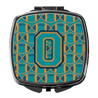 Letter O Football Aqua, Orange and Marine Blue Compact Mirror
