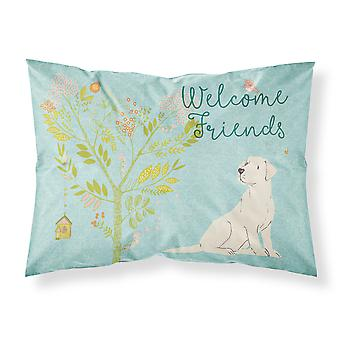 Welcome Friends Yellow Labrador Retriever Fabric Standard Pillowcase