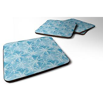 Set of 4 Watercolor Snowflake on Blue Foam Coasters Set of 4