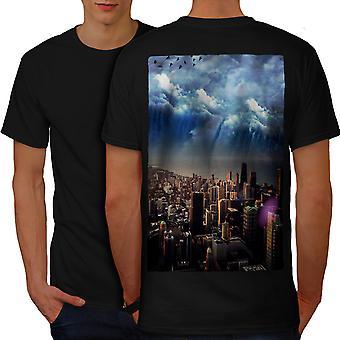 Storm Sky Photo City Men BlackT-shirt Back | Wellcoda