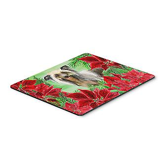 Chinese Crested Poinsettas Mouse Pad, Hot Pad or Trivet