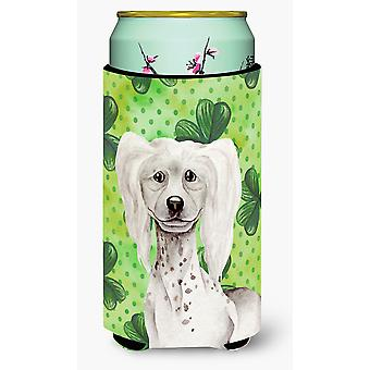 Chinese Crested Shamrocks Tall Boy Beverage Insulator Hugger