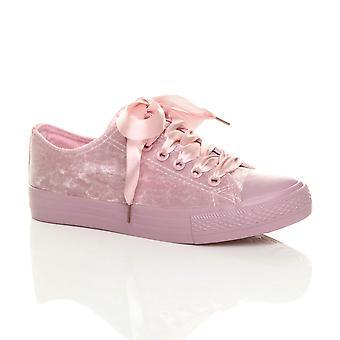 Ajvani womens ribbon lace up velvet baseball low top pumps trainers shoes