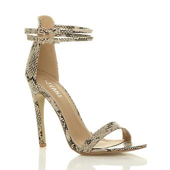 Ajvani womens stiletto high heel barely there double strap buckle party sandals shoes