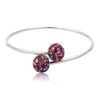 Bracelet Bangle 925 Silver and Crystal Multicolor beads
