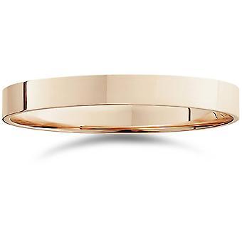3 millimetri Flat alto lucido Wedding Band 14k oro rosa