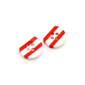 Packet 5 x Red/White Resin 13mm Round 4-Holed Patterned Sew On Buttons HA14575