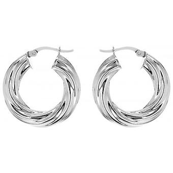 IBB London Small Twisted Hoop Earrings - Silver