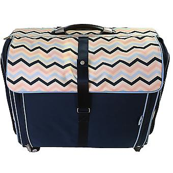 CGull Ultimate Craft Machine & Supplies Trolley Canvas Tote-Blue With Multi-Color Chevron