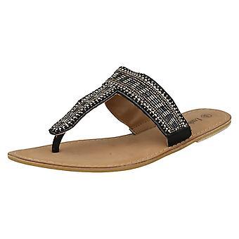 Damer Spot på læder samling Beaded tå indlæg sandaler