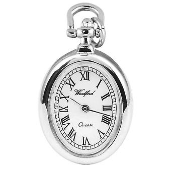 Woodford Chrome Plated Oval Flower Quartz Pendant Watch - Silver/Black
