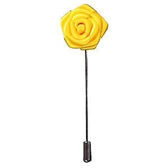 Bassin and Brown Rose Flower Lapel Pin - Yellow