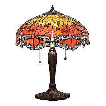 Interiör 1900 Flame Dragonfly 2 ljus stor bordslampa