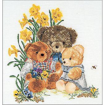 Teddy Bears On Aida Counted Cross Stitch Kit-16
