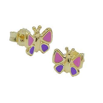Joyas oro 375 pendientes de los niños niños enchufe mariposa 9 KT oro