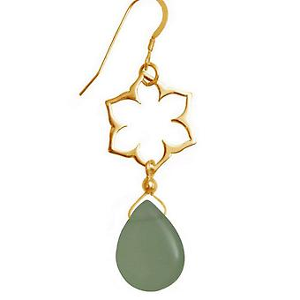 Few ladies - earrings - 925 Silver - gold plated - mandala - chalcedony - green - 4.5 cm