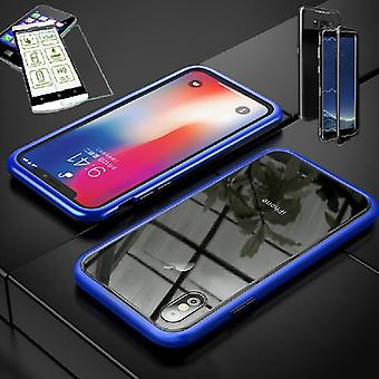 For Apple iPhone XS MAX 6.5 inch magnetic metal / glass bag Case Blau / transparent + 0.26 mm H9 hard glass