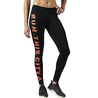 Reebok Womens Essentials Running Gym Fitness Brushed Gym Leggings Tight - Black
