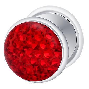 Falske snyder øret Plug sølv forgyldt, ørering, krop smykker, med Multi krystal røde