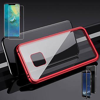 Per Huawei compagno 20 magnete Pro / metallo / vetro custodia rosso-trasparente + 0,3 mm 4 H9 d duro pieno curvo in vetro temperato