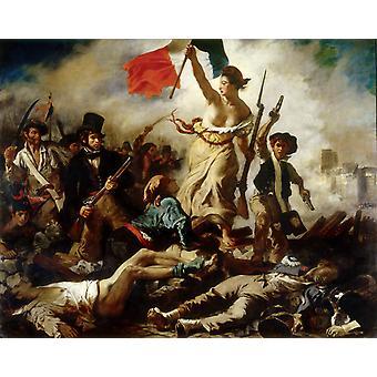 Свобода, ведущая народ, 28 июля 1830, Эжен Делакруа, 50x40cm