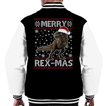 Merry Rex Mas Christmas Dinosaur Men's Varsity Jacket
