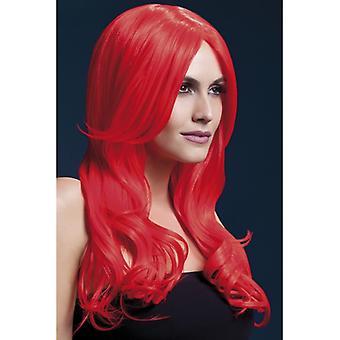Feber Khloe Wig røde damer langt hår parykk
