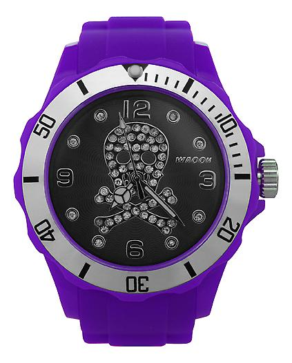 Waooh - Watch Death Head 39 & Rhinestones Black Dial Silver