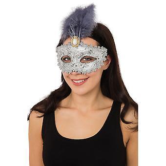 Argent doré Eyemask + grande plume