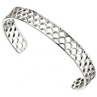 Begin Open halve cirkel patroon Bangle - zilver
