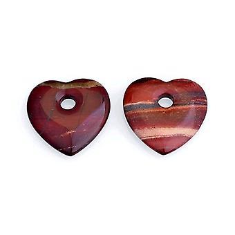 1 x 45 мм красного мака Джаспер сердце Шарм/Кулон GS10255