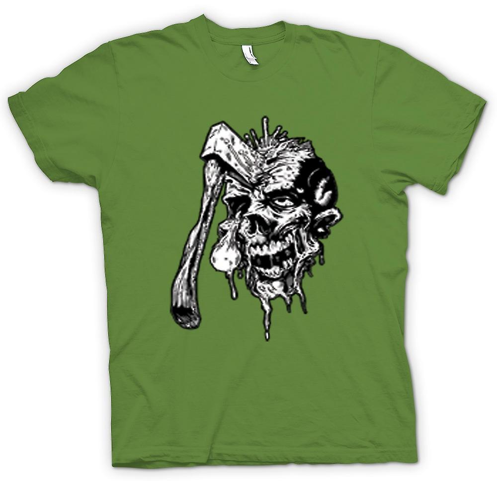 Heren T-shirt - reeds enorme Zombie schedel zwart & wit Design