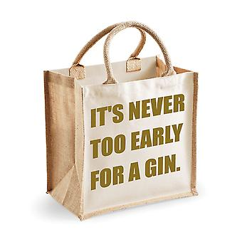 Medium Jute Bag It's Never Too Early For A Gin Natural Bag