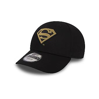 New Era Black-Gold Character 9Forty Superman Kids Curved Peak Adjustable Cap