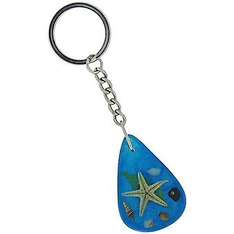The Olivia Collection Sea Life Key Ring with REAL Starfish on Blue Background