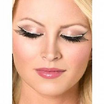 Glitter Eyelashes, Black and Silver, contains Glue