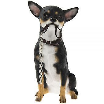 20Cm Walkies svart Chihuahua sitte hunden Ornament hjemme dekorasjon figur