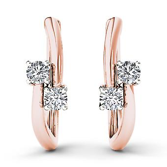 IGI Certified 10k Rose Gold 0.33 Ct Brilliant Diamond Two-Stone Hoop Earrings