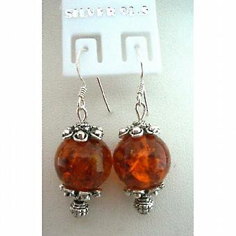 Amber Stone Bead w / Bali Silber w / Sterling Silber 92.5 Hook