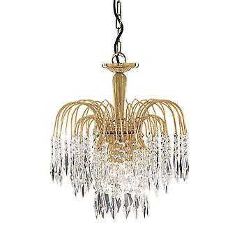 Lampadario plafoniera della cascata 3 d'oro con decorazioni in cristallo - Searchlight 5173-3
