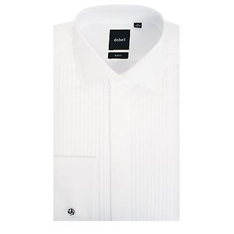 Dobell Mens White Dress Shirt Slim Fit 100% Cotton Standard Collar Double Cuff Pleated Fly Front